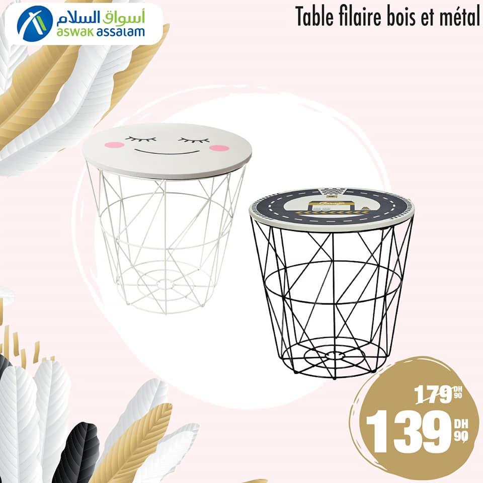 Soldes Aswak Assalam Table filaire bois et métal 139Dhs au lieu de 179Dhs