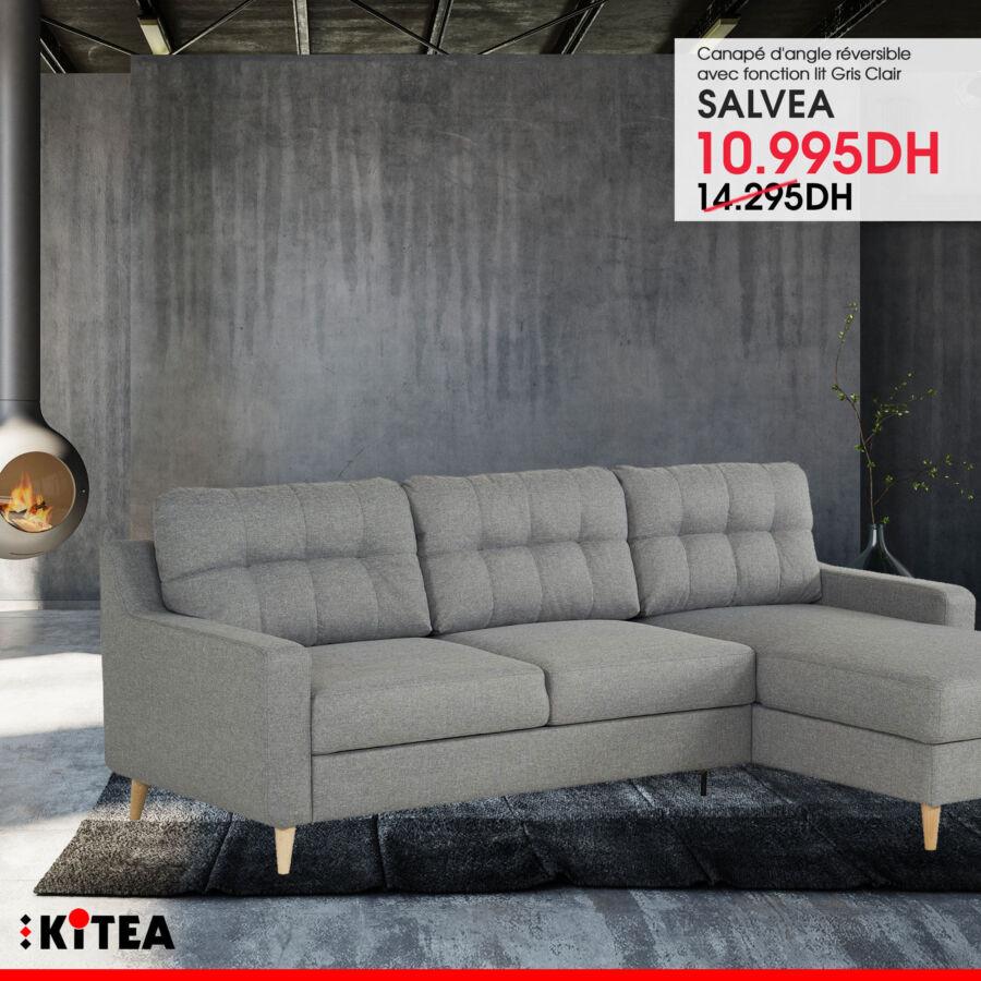 Soldes Kitea Canapé d'angle réversible en lit SALVEA 10995Dhs au lieu de14295Dhs