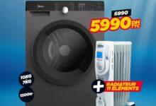 Soldes Electro Bousfiha Lavante séchante 10/7Kg + Radiateur 11e 5990Dhs au lieu de 6990Dhs