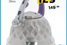Soldes chez Alpha55 Bouilloire sifflante en inox 3 litres 129Dhs au lieu de 149Dhs