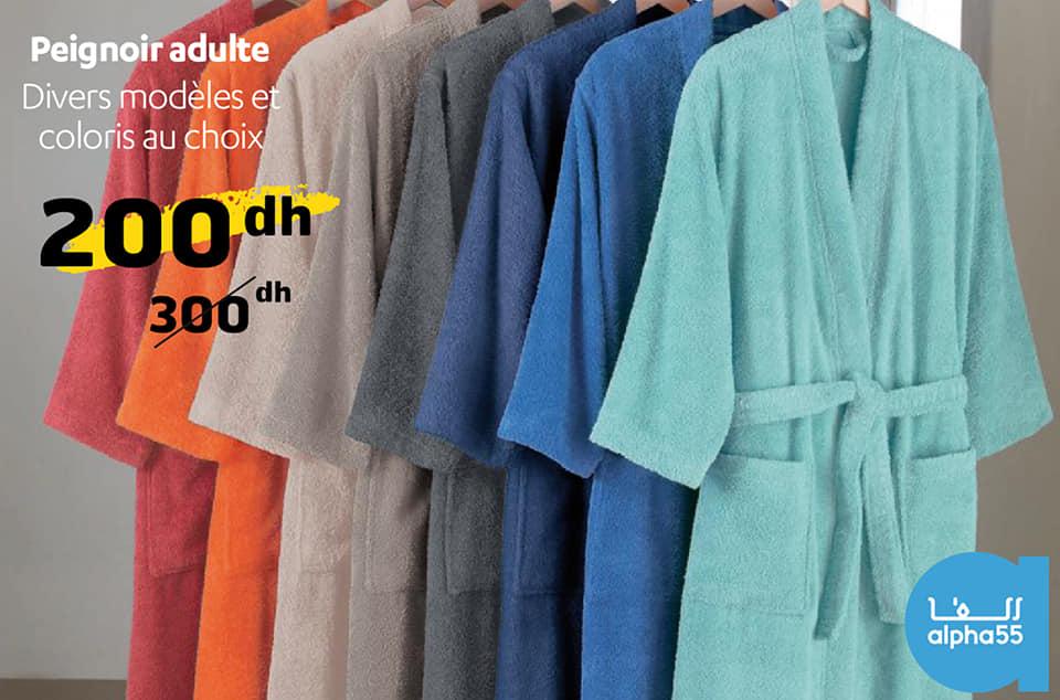 Soldes chez Alpha55 Peignoir adulte divers modèles et coloris 200Dhs au lieu de 300Dhs