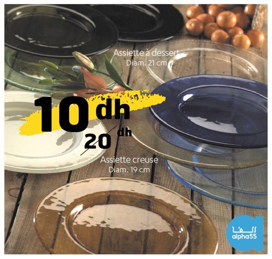Offre Promotionnel chez Alpha55 Spécial Assiettes à dessert et creuse 10Dhs au lieu de 20Dhs