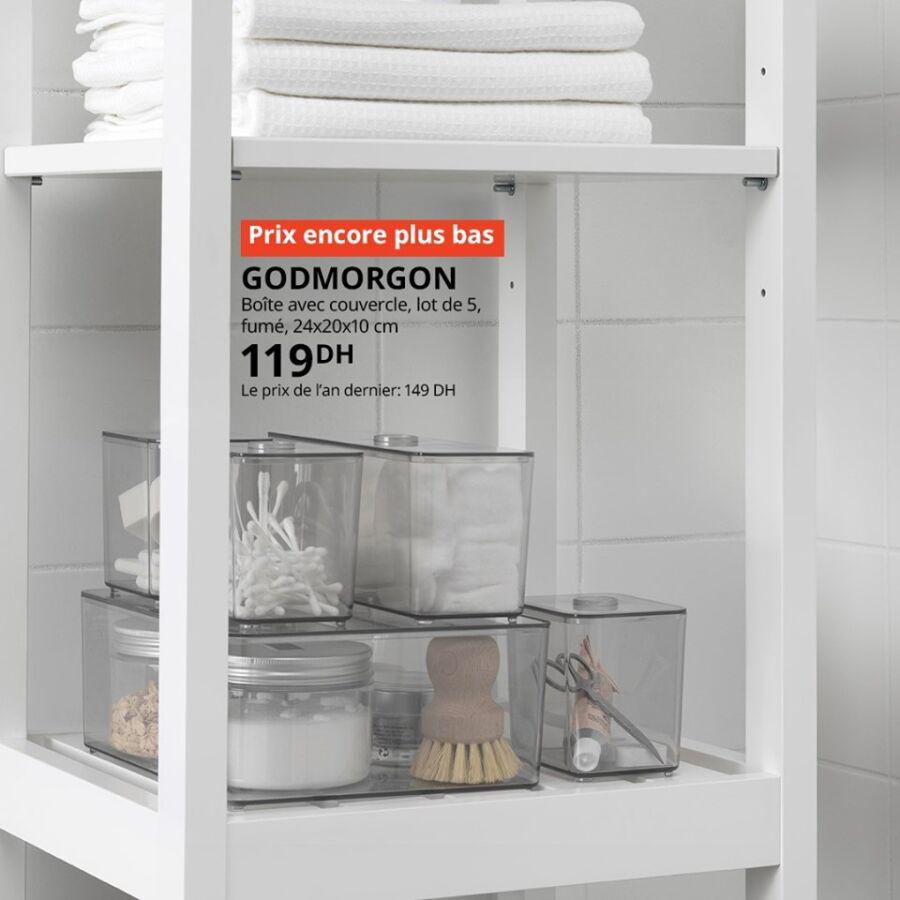 Prix encore plus bas Ikea Maroc 5 Boîtes avec couvercle fumé 119Dhs au lieu de 149Dhs
