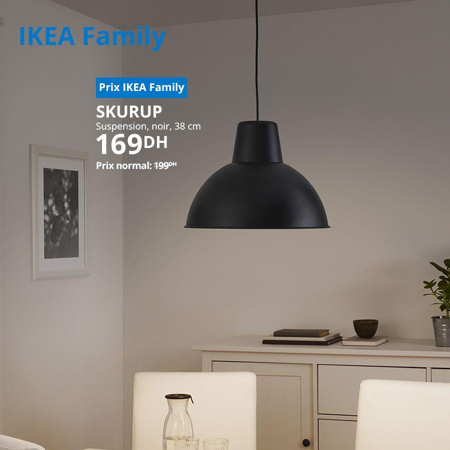 Soldes Ikea Family Suspension noir 38cm SKURUP 169Dhs au lieu de 199Dhs