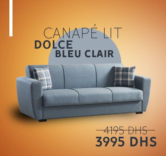 Soldes chez Kitea Canapé lit DOLCE bleu clair 3995Dhs au lieu de 4195Dhs