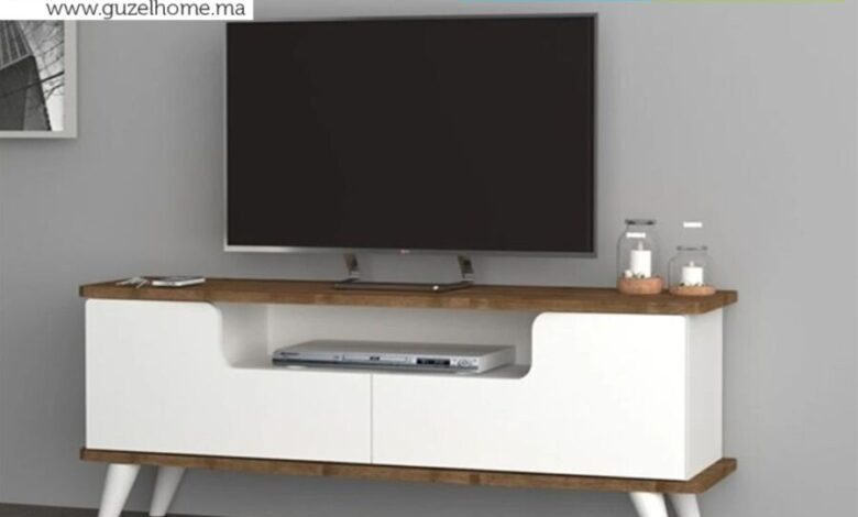Soldes Guzel Home Meuble TV 12cm EVILO noyer/blanc 890Dhs au lieu de 1090Dhs