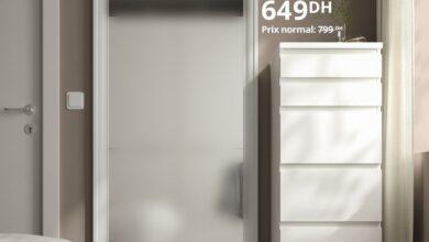 Soldes Ikea Family Maroc Miroir blanc 75x165cm TFTBYN 649Dhs au lieu de 799Dhs