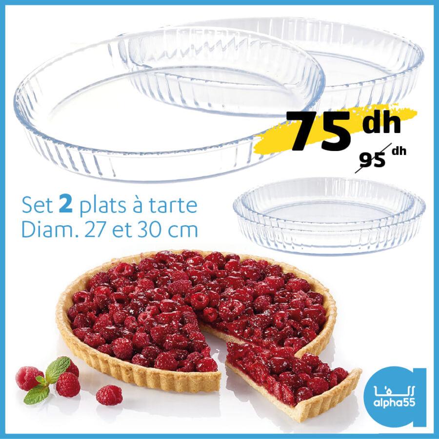 Soldes chez Alpha55 Set 2 plats à tarte 27et30cm 75Dhs au lieu de 95Dhs