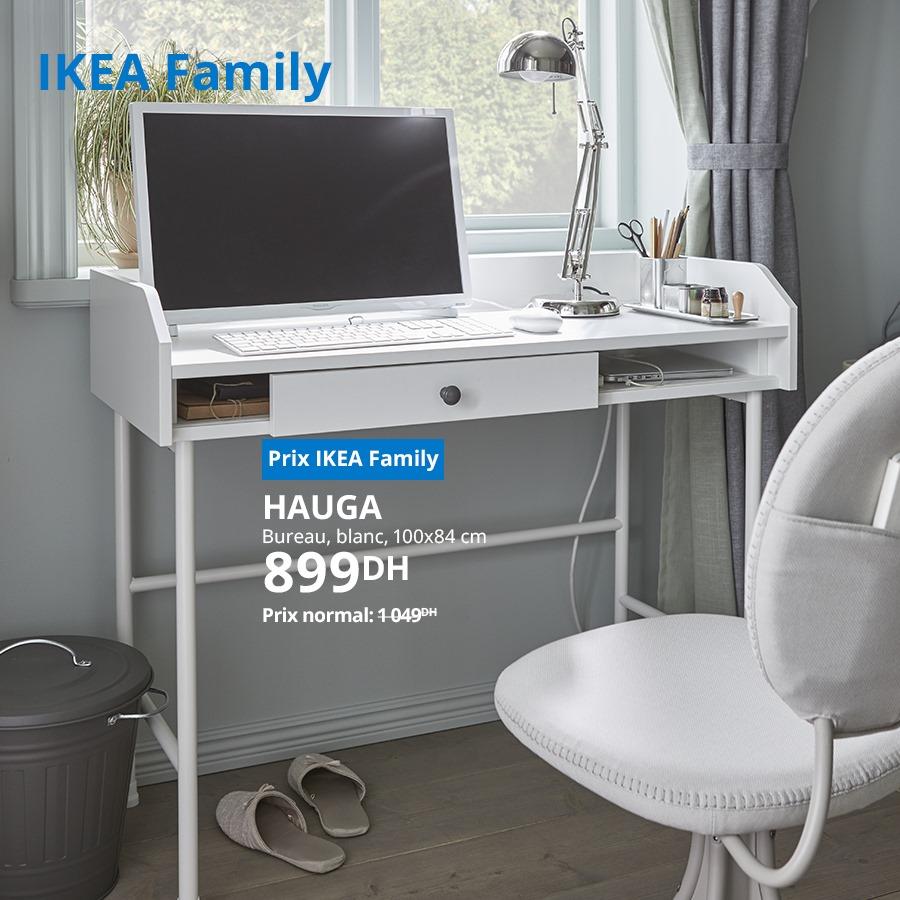 Soldes Ikea Family Bureau blanc 100x84cm HAUGA 899Dhs au lieu de 1049Dhs