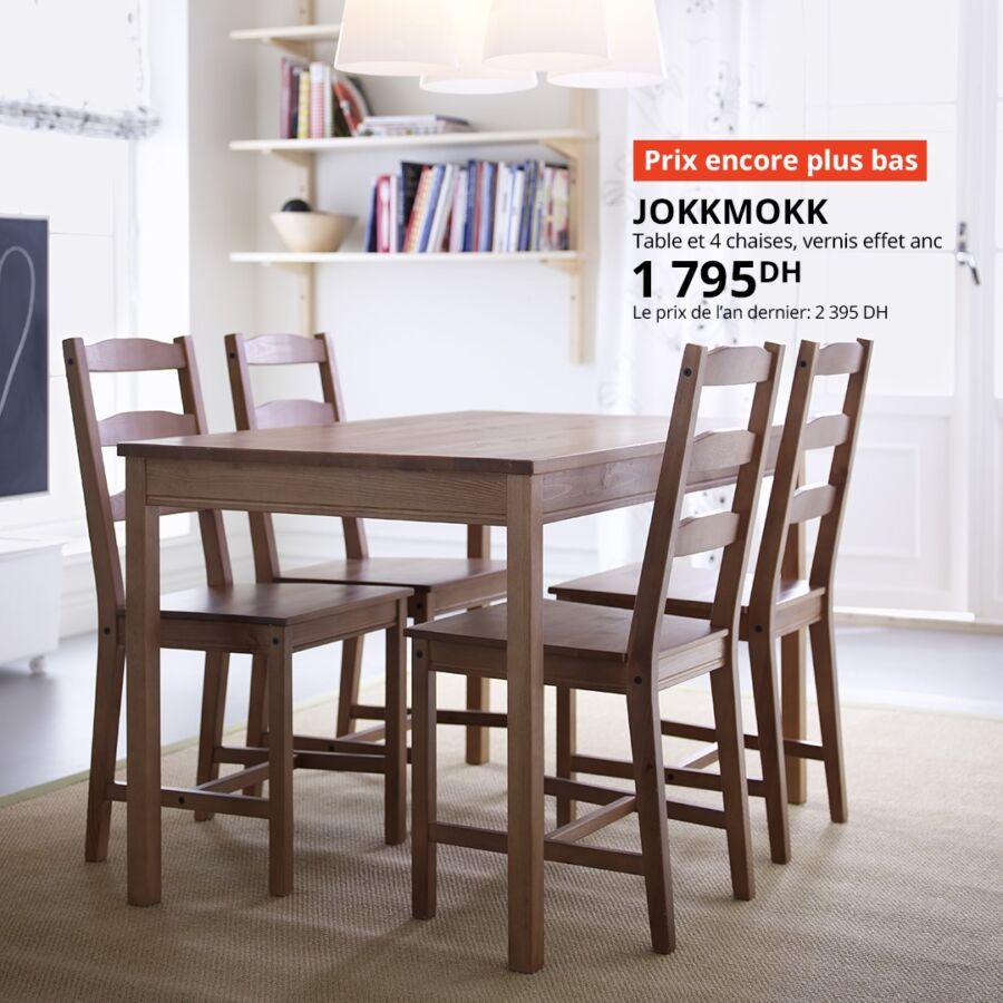 Prix encore plus bas Ikea Maroc Table et 4 chaises JOKKMOKK 1795Dhs au lieu de 2395Dhs
