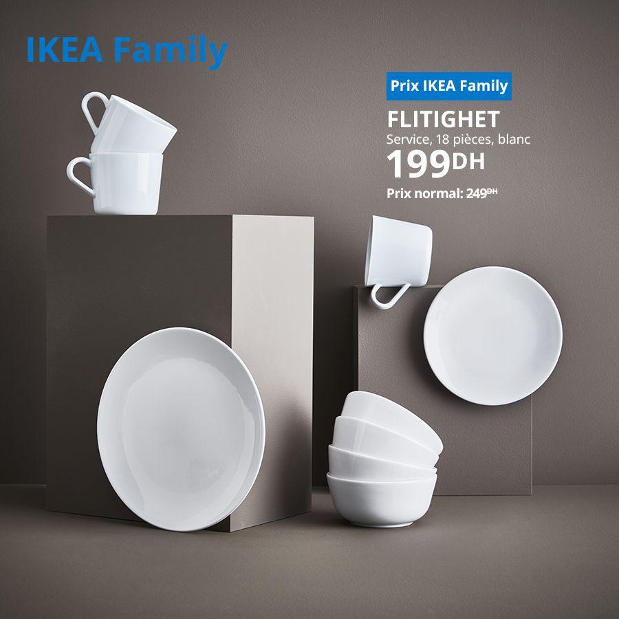 Soldes Ikea Family Service 18 pièces blanc FLITIGHET 199Dhs au lieu de 249Dhs