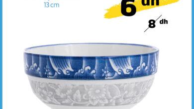 Soldes chez Alpha55 Bol en porcelaine décorée 13cm 6Dhs au lieu de 8Dhs