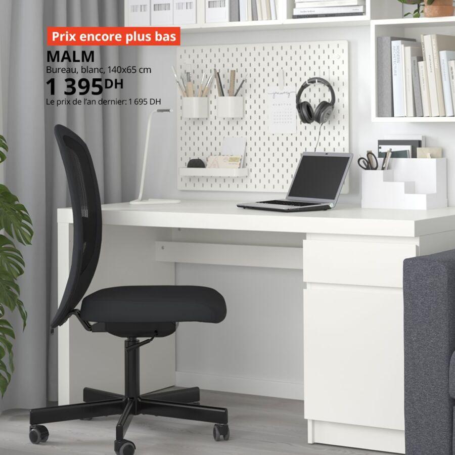 Prix encore plus bas Ikea Maroc Bureau blanc MALM 1395Dhs au lieu de 1695Dhs
