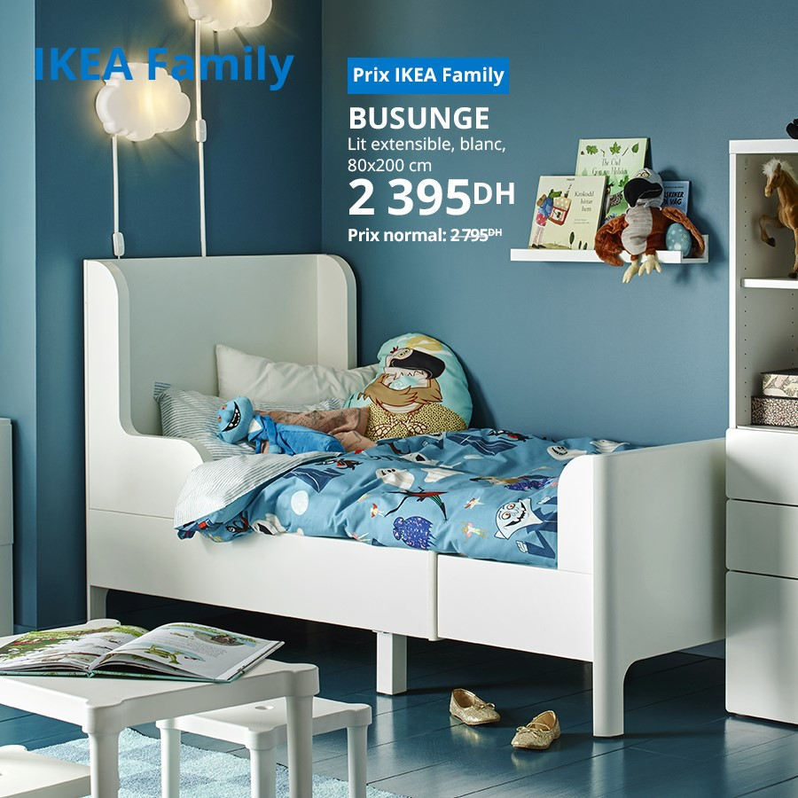 Soldes Ikea Family Lit extensible blanc BUSUNGE 2395Dhs au lieu de 2795Dhs