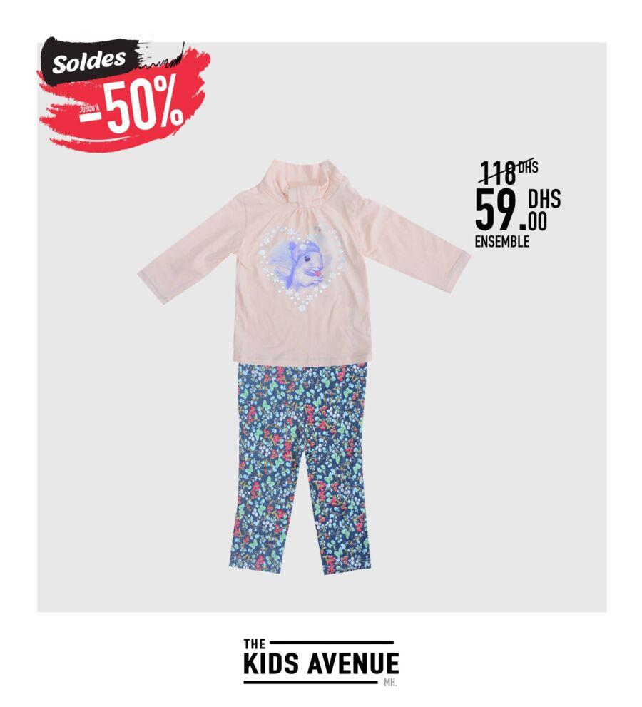Soldes -50% chez Kids Avenue à Miro Home Ensemble fille 59Dhs au lieu de 118Dhs