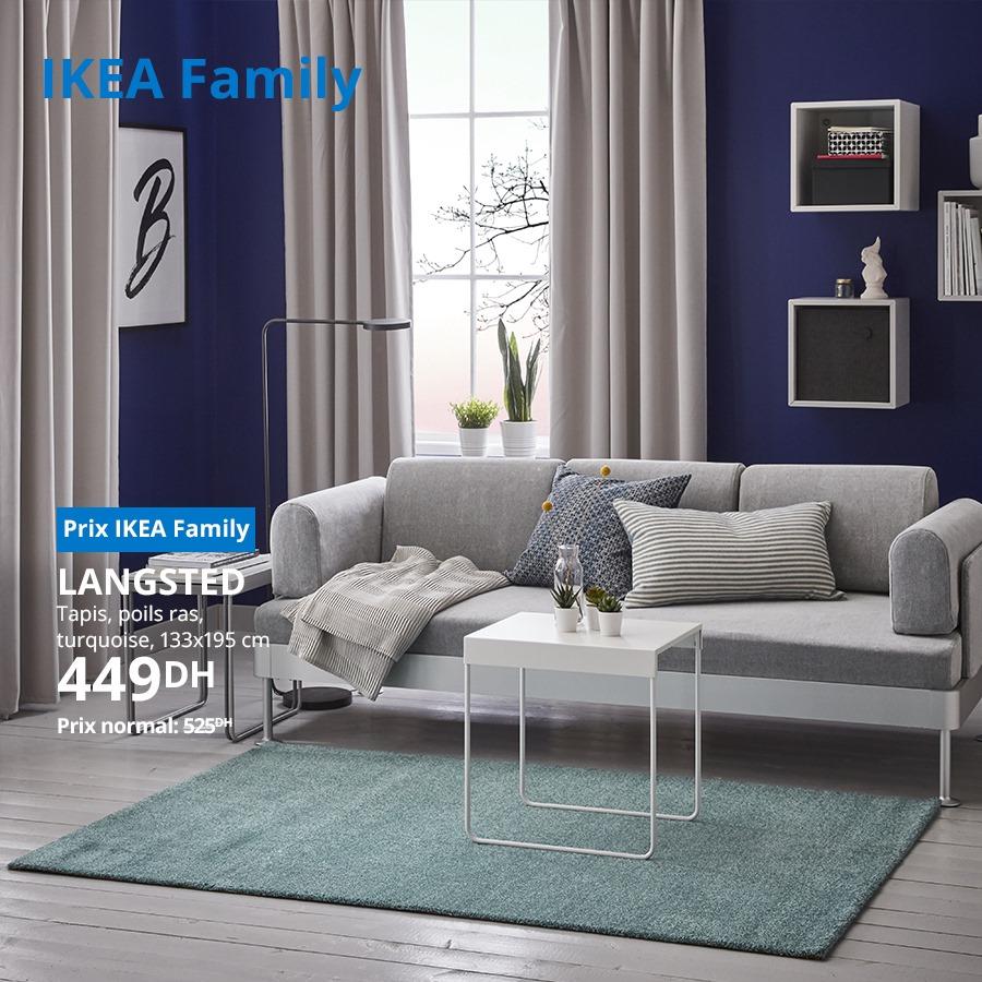 Soldes Ikea Family Tapis poils ras turquoise 133x195cm LANGSTED 449Dhs au lieu de 525Dhs
