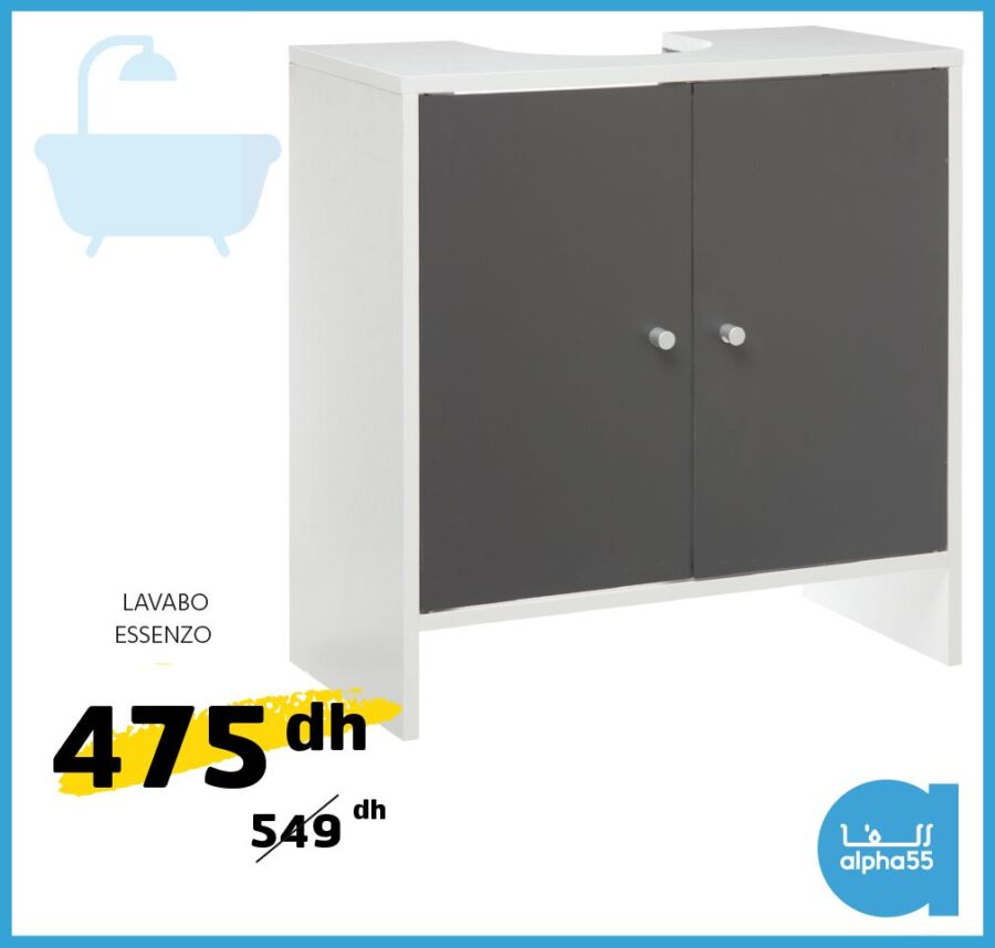 Offre Promotionnel chez Alpha55 Lavabo ESSENZO 475Dhs au lieu de 549Dhs