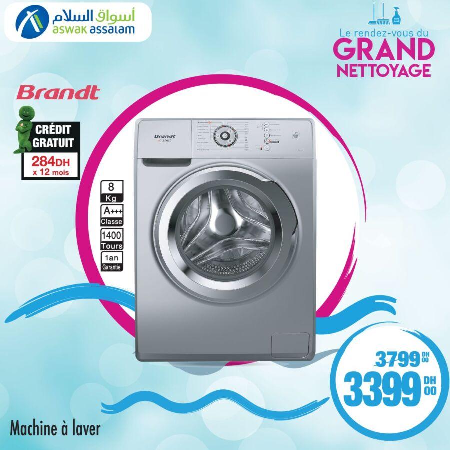 Soldes chez Aswak Assalam Machine à laver 8Kg BRANDT 3399Dhs au lieu de 3799Dhs