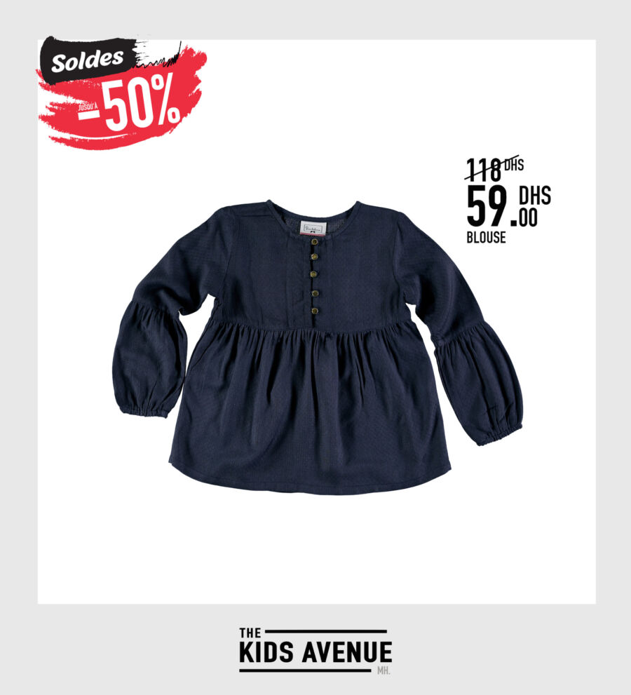 Soldes -50% chez Kids Avenue chez Miro Home Blouse fille 59Dhs au lieu de 118Dhs
