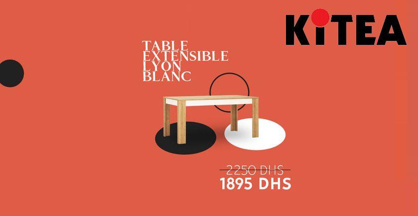 Soldes chez Kitea Table extensible LYON blanc 1895Dhs au lieu de 2250Dhs