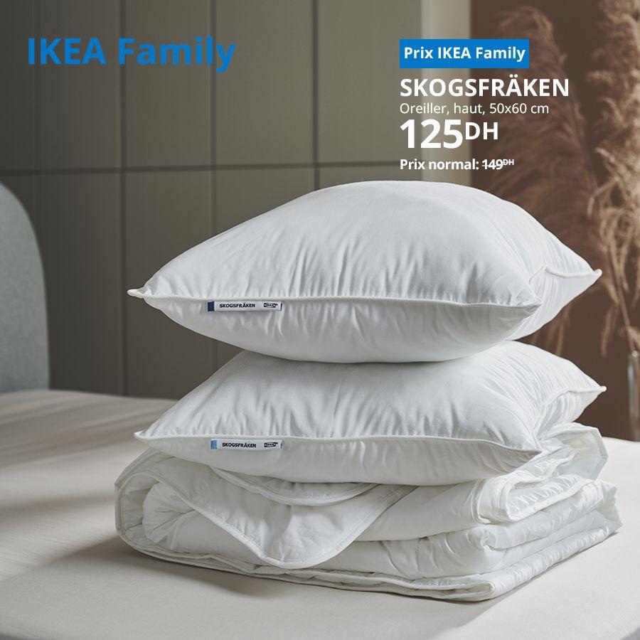 Soldes Ikea Family Oreiller haut 50x60cm SKOGSFRAKEN 125Dhs au lieu de 149Dhs