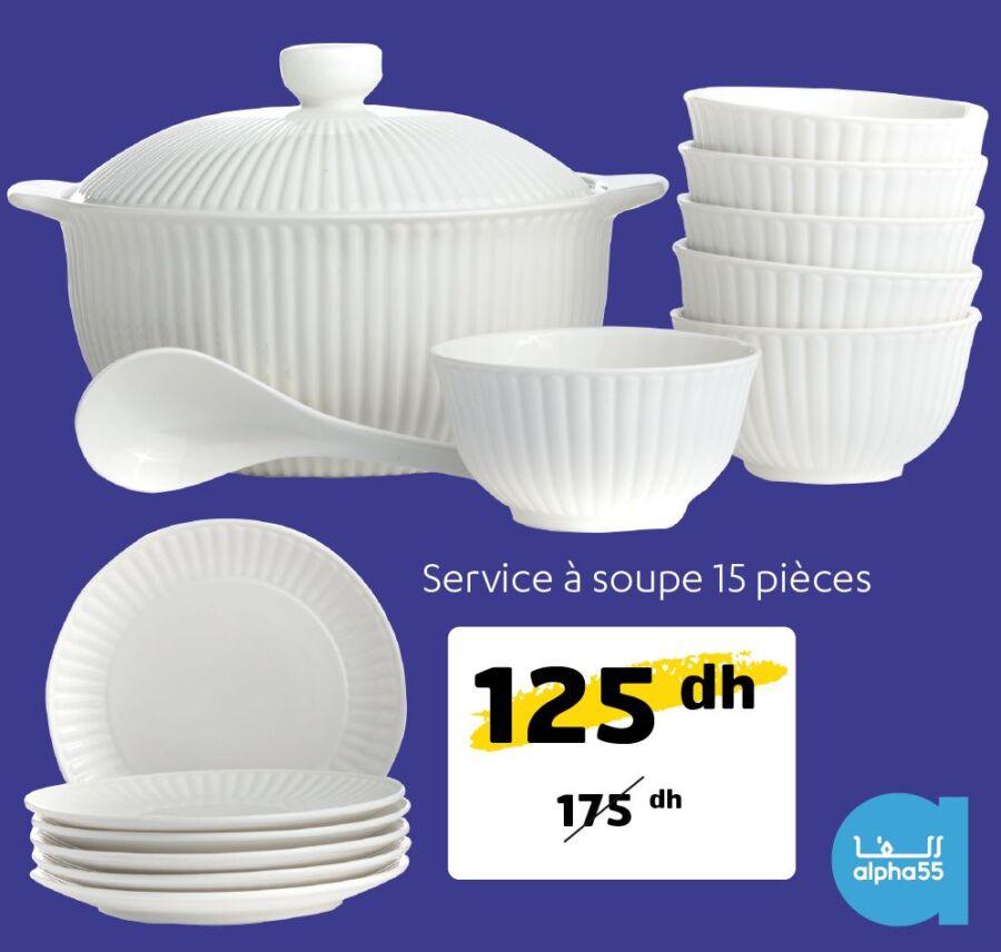 Offre promotionnel chez Alpha55 Service à soupe 15 pièces 125Dhs au lieu de 175Dhs