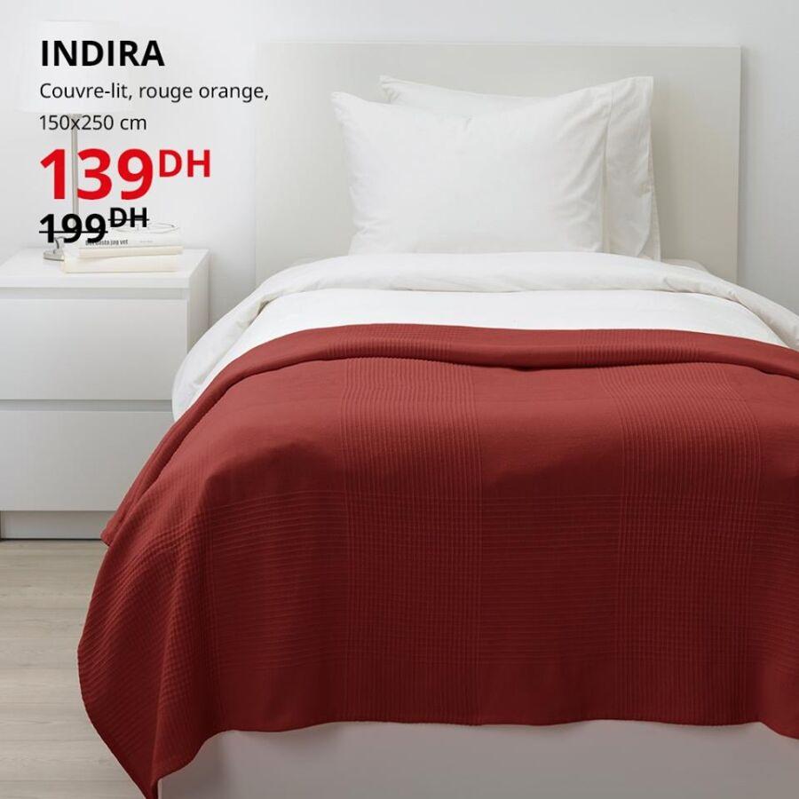 Soldes Ikea Maroc Couvre-lit rouge orange INDIRA 139Dhs au lieu de 199Dhs