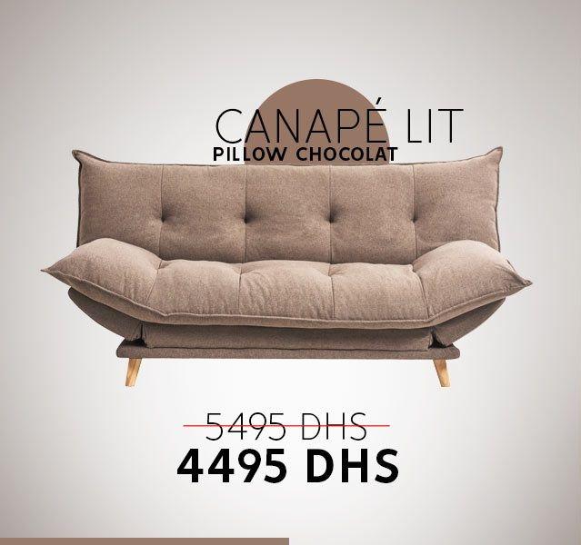 Soldes chez Kitea Canapé lit PILLOW chocolat 4495Dhs au lieu de 5495Dhs