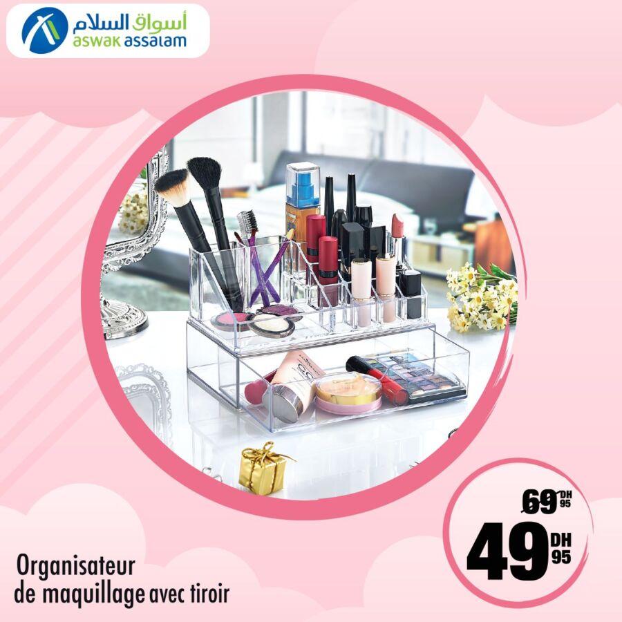 Soldes Beauté chez Aswak Assalam Organisateur de maquillage avec tiroir 50Dhs au lieu de 70Dhs