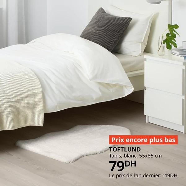 Prix encore plus bas Ikea Maroc Tapis blanc TOFTLUND 79Dhs au lieu de 119Dhs