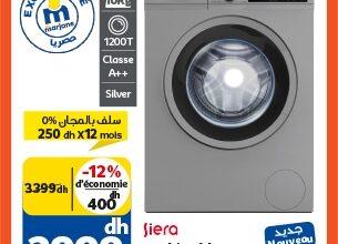 Soldes chez Marjane Machine à laver 10Kg SIERA 2999Dhs au lieu de 3399Dhs