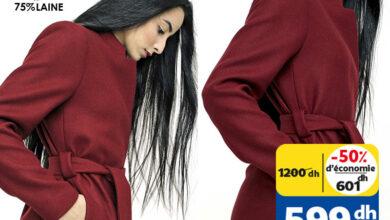 Soldes Mode chez Marjane Manteau en laine femme 599Dhs au lieu de 1200Dhs