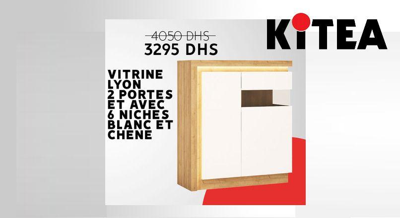 Soldes chez Kitea Vitrine LYON 2 portes 6 niches 3295Dhs au lieu de 4050Dhs