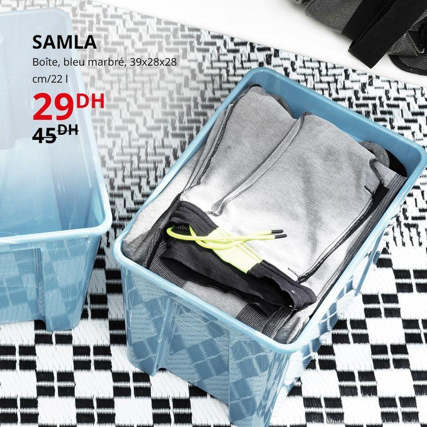 Soldes Ikea Maroc Boîte bleu marbré SAMLA 29Dhs au lieu de 45Dhs