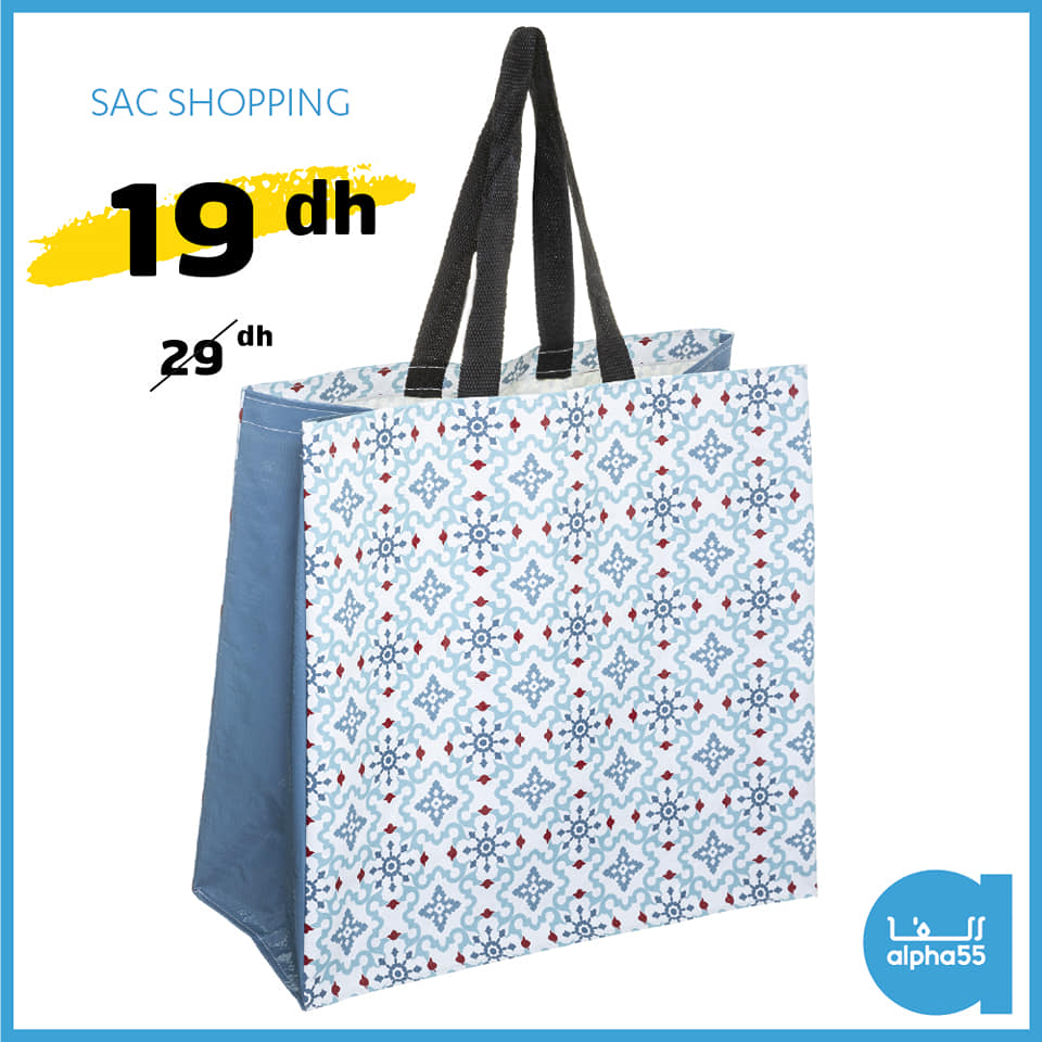 Offre Promotionnel chez Alpha55 Sac pour Shopping 19Dhs au lieu de 29Dhs