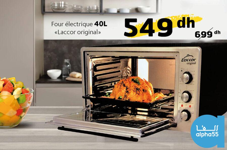 Offre Promotionnel chez Alpha55 Four électrique 40L LACCOR 549Dhs au lieu de 699Dhs