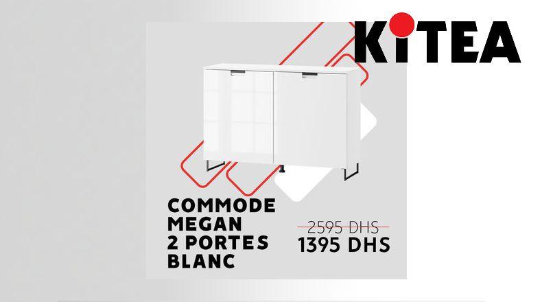 Soldes chez Kitea Commode MEGAN 2 portes blanc 1395Dhs au lieu de 2595Dhs