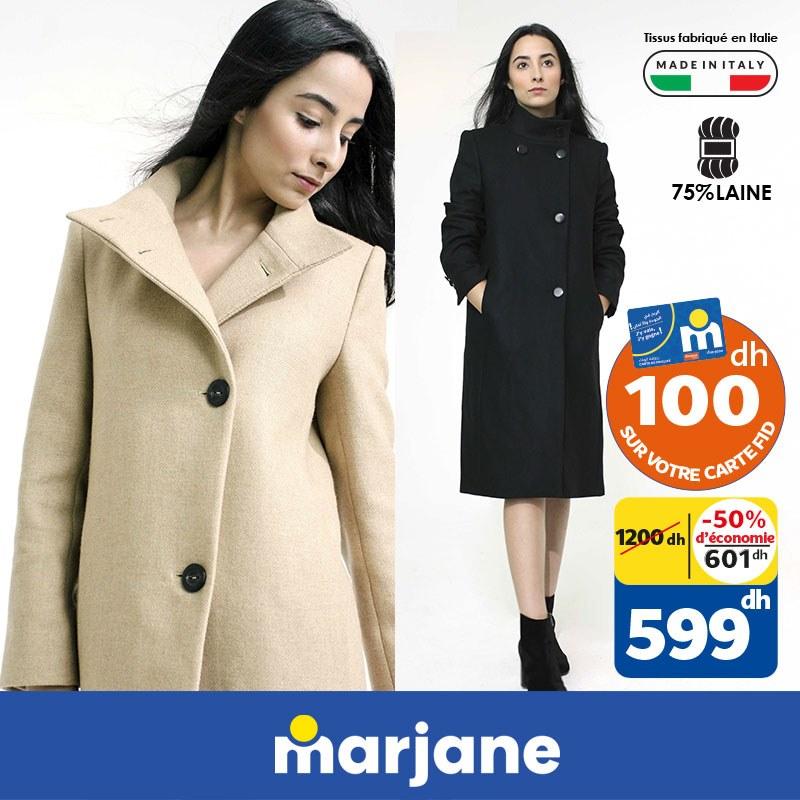 Soldes Mode chez Marjane Manteau en laine femme divers coloris 599Dhs au lieu de 1200Dhs
