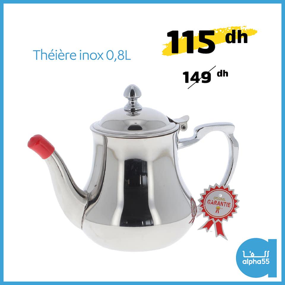 Offre Promotionnel chez Alpha55 Théière inox 0.8L à 115Dhs au lieu de 1494Dhs