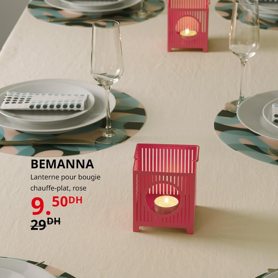 Soldes Ikea Maroc Lanterne pour bougie BEMANNA 9.50Dhs au lieu de 29Dhs