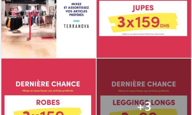 Big Soldes X3 chez Terranova Maroc valables sur une grande sélection d'articles