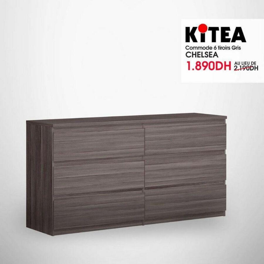 Soldes Kitea Commode 6 tiroirs gris CHELSEA 1890Dhs au lieu de 2190Dhs