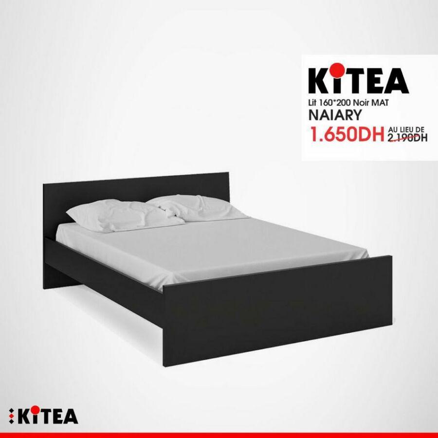 Soldes chez Kitea Lit 160x200cm noir mat NAIARY 1650Dhs au lieu de 2190Dhs