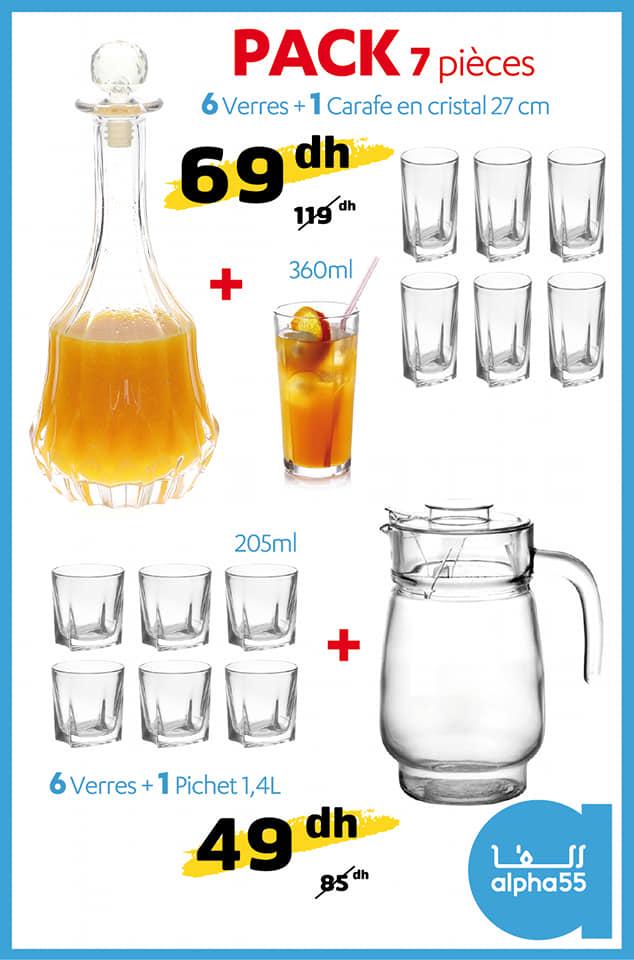 Soldes Alpha55 Pack 7 pièces Carafe en cristal 27cm + 6 verres 69Dhs au lieu de 119Dhs