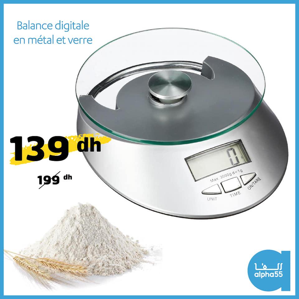 Soldes Alpha55 Balance digitale en métal et verre 139Dhs au lieu de 199Dhs