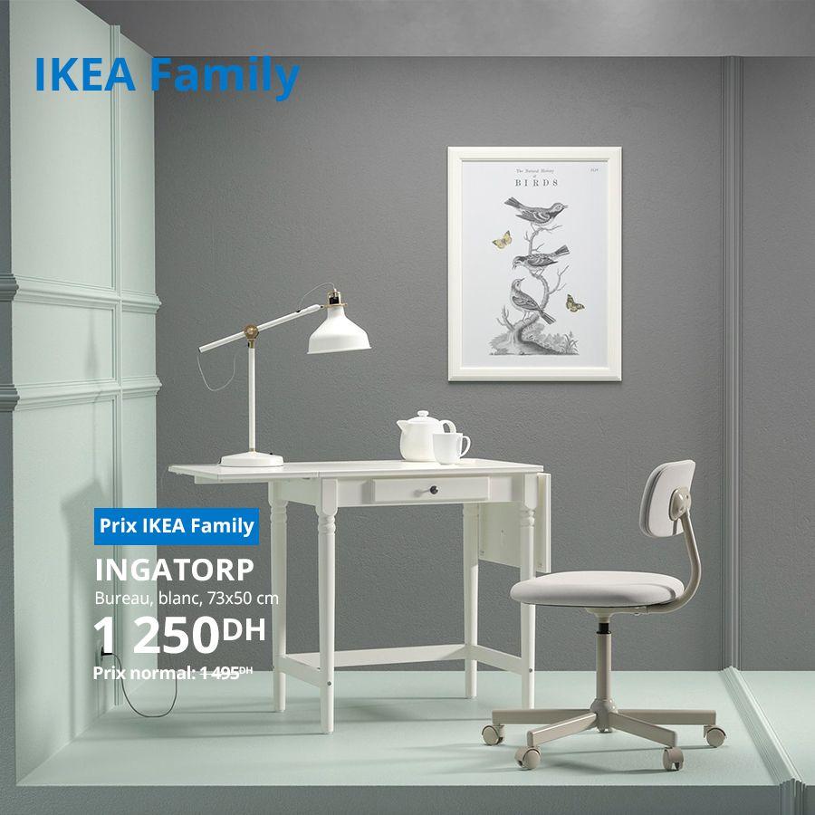 Soldes Ikea Family Bureau INGATORP blanc 73x50cm 1250Dhs au lieu de 1495Dhs