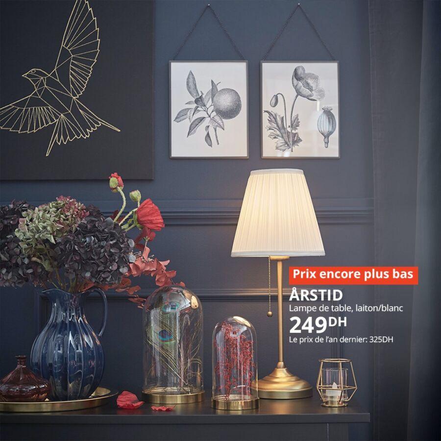 Soldes chez Ikea Maroc Lampe de table ARSTID 249Dhs au lieu de 325Dhs