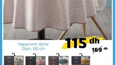 Offre Promotionnel Alpha55 Nappe anti tâche 180cm 115Dhs au lieu de 169Dhs