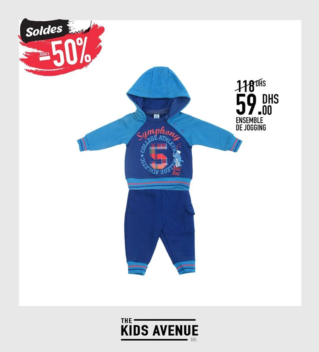 Soldes -50% chez Kids Avenue Ensemble de jogging 59Dhs au lieu de 118Dhs