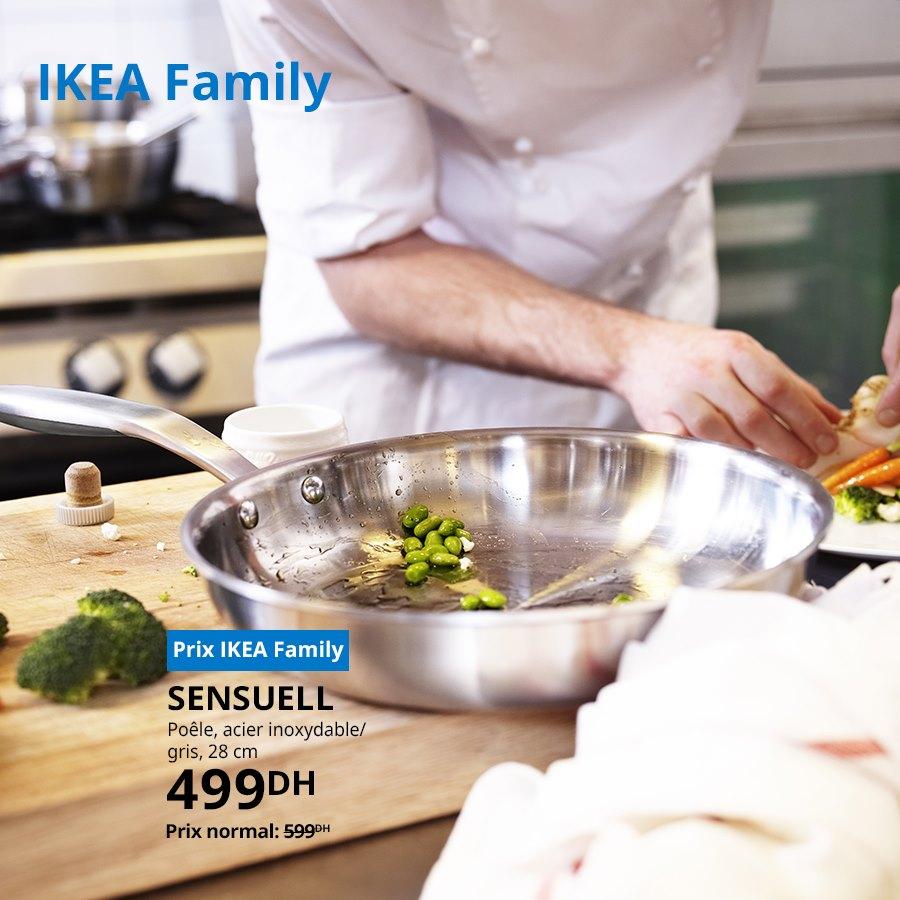 Soldes Ikea Family Poêle 28cm en acier inoxydable SENSUELL 499Dhs au lieu de 599Dhs